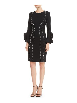 Michael Kors Collection Studded Bell-Sleeve Crepe Dress