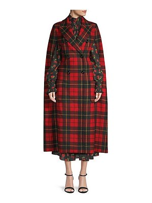 Michael Kors Collection tartan wool cape