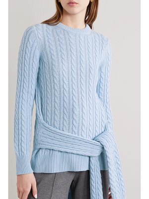 Michael Kors Collection tie-detailed asymmetric cable-knit cashmere sweater