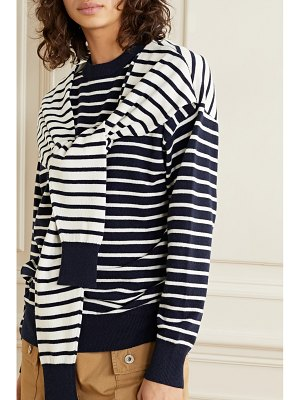 Michael Kors Collection tie-front striped cashmere sweater