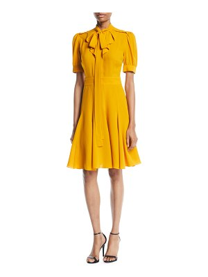 Michael Kors Collection Tie-Neck Short-Sleeve Fit-and-Flare Silk Dress