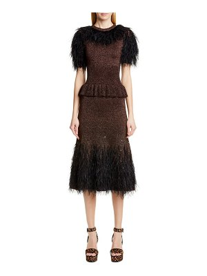Michael Kors feather embellished metallic peplum sweater dress