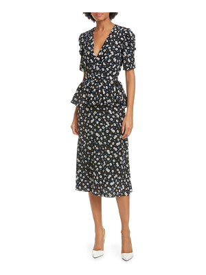 Michael Kors floral crepe de chine peplum dress