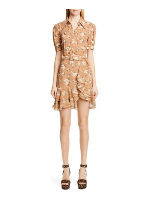 Michael Kors french floral print tiered ruffle shirtdress