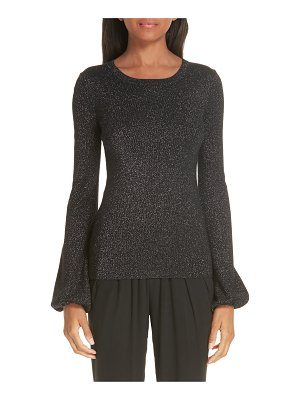 Michael Kors peasant sleeve metallic merino wool blend sweater