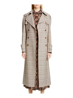 Michael Kors puff sleeve plaid trench coat