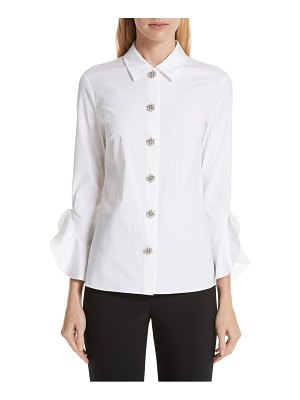 Michael Kors ruffle cuff jeweled button blouse