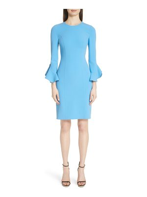 Michael Kors ruffle sleeve stretch wool sheath dress