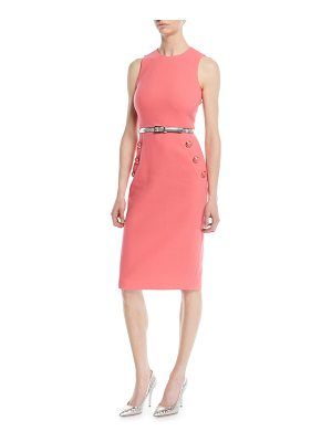 Michael Kors Sleeveless Stretch-Boucle Crepe Sheath Dress w/ Belt
