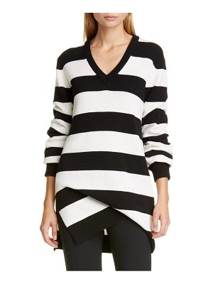 Michael Kors stripe draped asymmetrical cashmere sweater