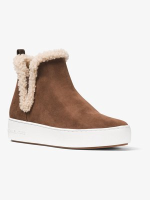 MICHAEL Michael Kors Ashlyn Suede And Shearling High-Top Sneaker