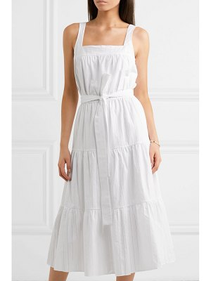 MICHAEL Michael Kors belted pleated pointelle-trimmed cotton midi dress