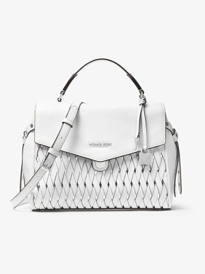 MICHAEL Michael Kors Bristol Medium Woven Leather Satchel