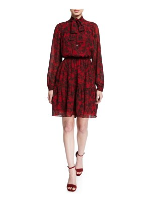 MICHAEL Michael Kors Chantilly Tie-Neck Long-Sleeve Tiered Dress