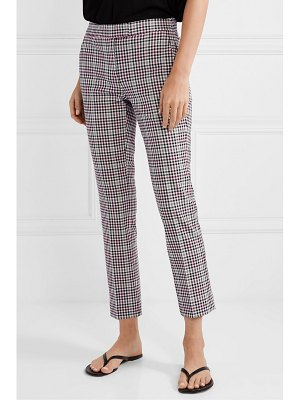 MICHAEL Michael Kors cropped checked stretch-cady slim-fit pants