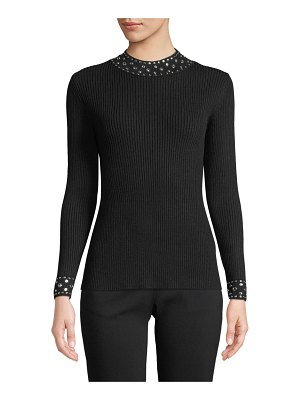 MICHAEL Michael Kors Embellished-Collar Ribbed Sweater