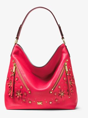 MICHAEL Michael Kors Evie Large Floral Embellished Pebbled Leather Shoulder Bag