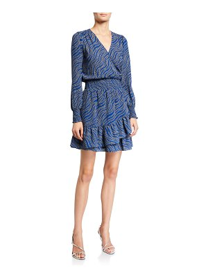 MICHAEL Michael Kors Faux-Wrap Long-Sleeve Smocked Ruffle Dress