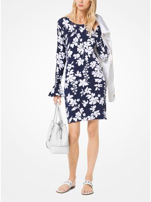MICHAEL Michael Kors Floral Stretch-Viscose Bell-Cuff Dress