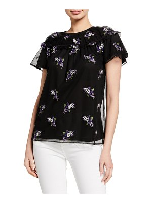 MICHAEL Michael Kors Forget Me Not Floral Embroidered Top