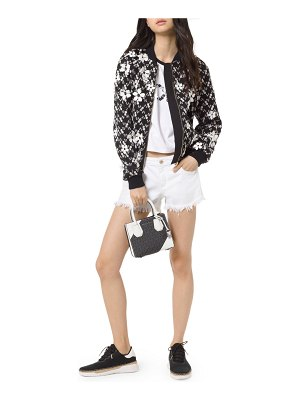 MICHAEL Michael Kors Garden Floral Embroidered Mesh Bomber Jacket