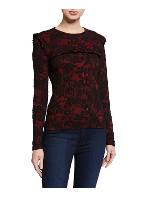 MICHAEL Michael Kors Glam Lace Long-Sleeve Ruffle Trim Top