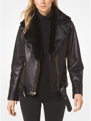 MICHAEL Michael Kors Leather W Fur Collar