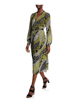 MICHAEL Michael Kors Lilly Mixed-Print Long-Sleeve Midi Flare Dress