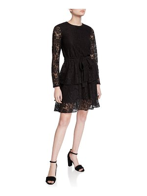 MICHAEL Michael Kors Long-Sleeve Tiered Lace A-Line Dress