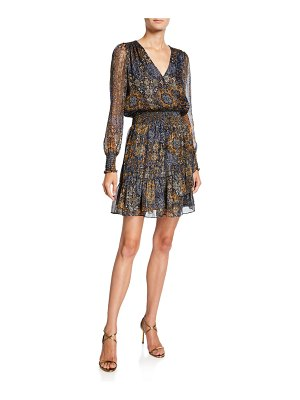 MICHAEL Michael Kors Mega Patchwork V-Neck Long-Sleeve Mini Dress