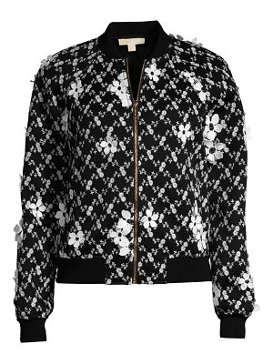 MICHAEL Michael Kors mesh floral embroidered bomber jacket
