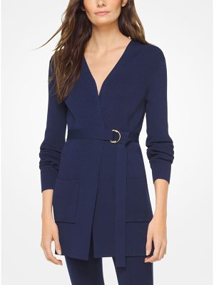 MICHAEL Michael Kors Ribbed Stretch-Viscose Cardigan