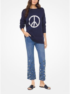 MICHAEL Michael Kors Studded Peace Stretch-Cotton Pullover