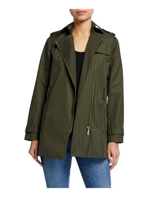 MICHAEL Michael Kors Zip-Front Belted Trench Coat