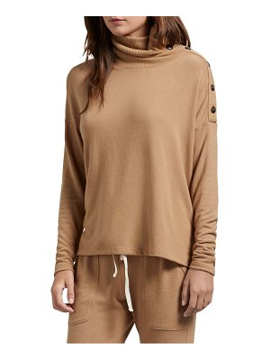 Michael Stars lacy madison brushed jersey button detail long sleeve top