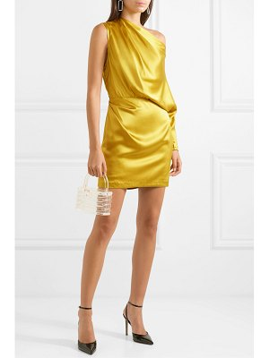 Michelle Mason one-shoulder draped silk-satin mini dress