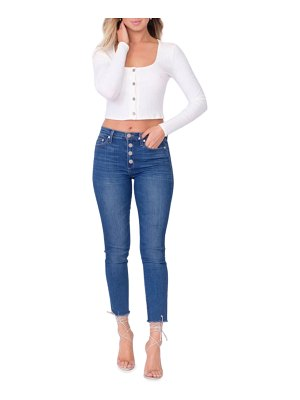 Midheaven Denim Kate Button-Fly Skinny Jeans with Raw Hem