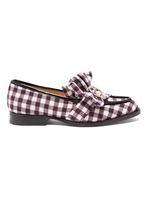 Midnight 00 antoinette checked crystal embellished loafers