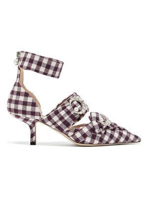 Midnight 00 crystal-embellished checked pumps