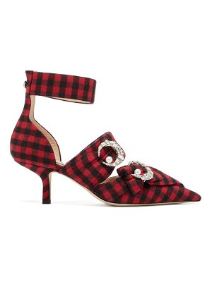 Midnight 00 crystal-embellished checked twill pumps