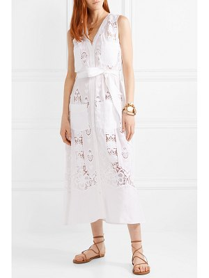Miguelina alexia guipure cotton-lace and linen midi dress