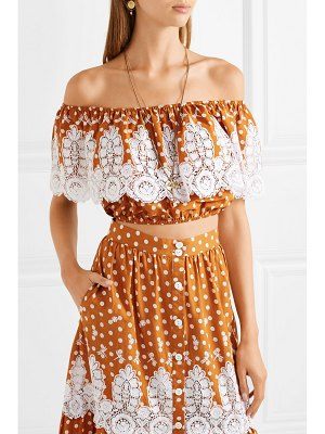Miguelina dakota off-the-shoulder crocheted polka-dot cotton top