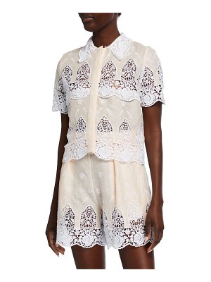 Miguelina Darlene Embroidered Lace Top
