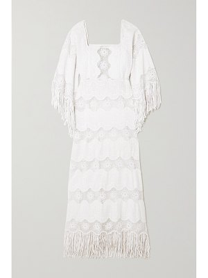 Miguelina francesca fringed embroidered cotton-blend maxi dress