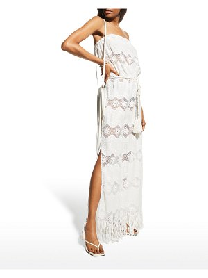 Miguelina Naima Lace Belted Strapless Jumpsuit