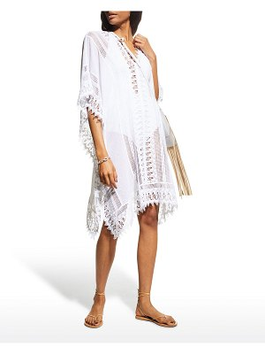 Miguelina Tyra Cotton Gauze Caftan with Lace