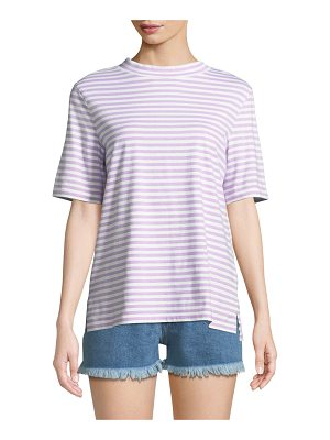 M.i.h Jeans Penny Mock-Neck Striped Cotton Tee