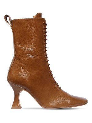 Miista 80mm yana crackled leather lace-up boots