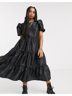 Milk It vintage oversized smock dress with balloon sleeves and open back in taffeta-black