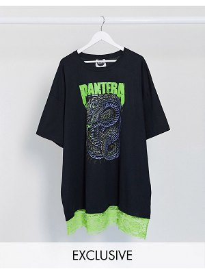 Milk It vintage oversized t-shirt dress with pantera graphic and neon lace trim-black